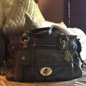 Authentic Coach soft leather gray handbag.